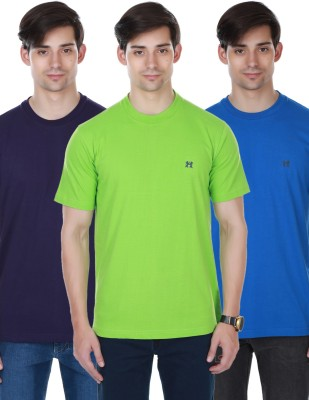 Cotton County Premium Solid Men's Round Neck Blue, Green, Purple T-Shirt
