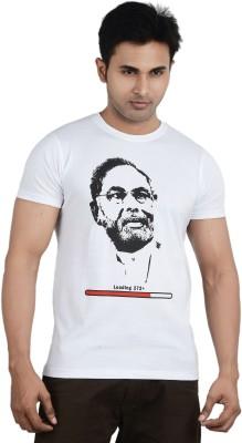 TeesTadka Printed Men's Round Neck White T-Shirt