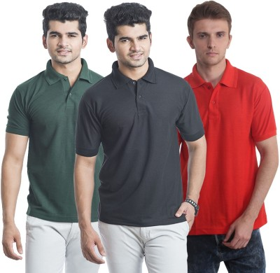 Bainsons Solid Men,s Polo Black, Green, Red T-Shirt