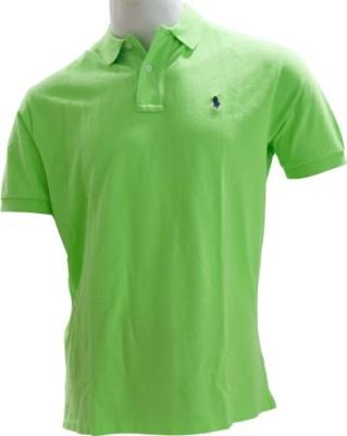 Ralph Lauren Solid Men,s, Boy's Flap Collar Neck Green T-Shirt