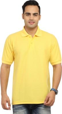 Zevog Solid Men's Polo Yellow T-Shirt