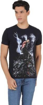 Marvel Comics Printed Men's Round Neck Blue T-Shirt