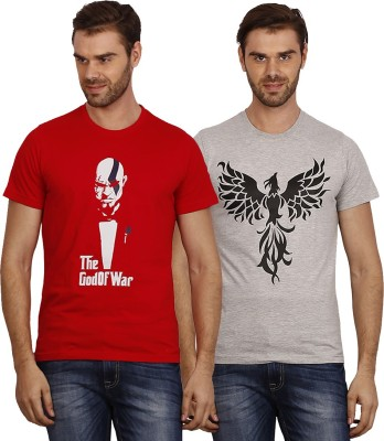Crush on Craze Printed Men's Round Neck Red, Grey T-Shirt