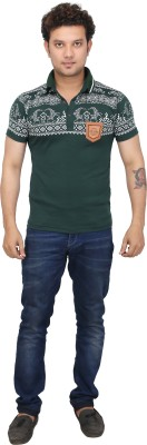 AFLASH Printed Men's Polo Green T-Shirt
