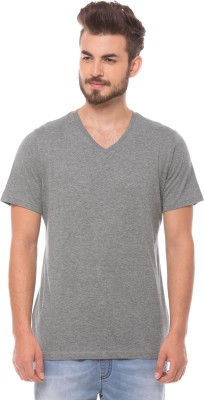 Prym Solid Men's V-neck Grey T-Shirt