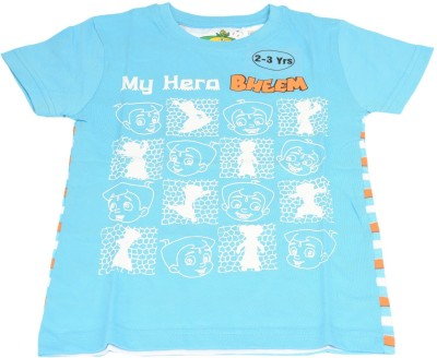 Green Gold Printed Boy's Round Neck Blue T-Shirt
