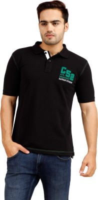 Cayman Solid Men's Polo Neck Black T-Shirt