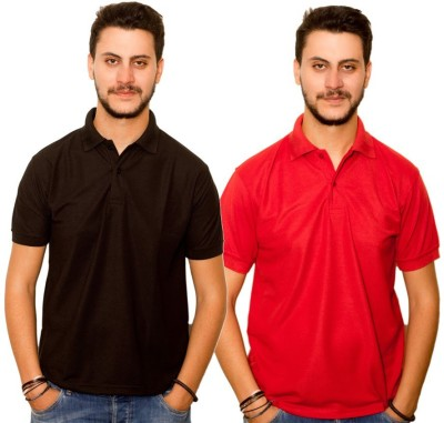 Dreamz Clothing Co Solid Men,s Polo Neck Black, Red T-Shirt
