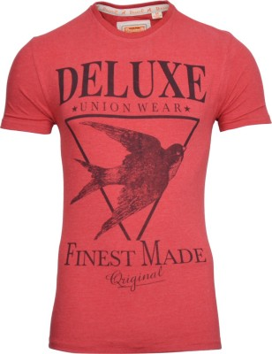 Drastic Printed Men's Round Neck Red T-Shirt