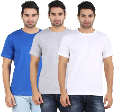 Heartin Beat Solid Men's Round Neck White, Grey, Light Blue T-Shirt