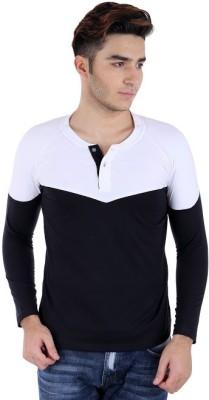 Bigidea Solid Men's Henley White, Black T-Shirt