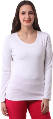 Fashionexpo Solid Women's Round Neck White T-Shirt