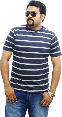East West Striped Men's Round Neck Blue, Grey T-Shirt