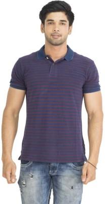 Petroficio Striped Men's Polo Neck Blue T-Shirt