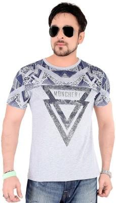 Moncheri Printed Men's Round Neck Grey T-Shirt