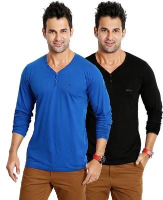 Rodid Solid Men's V-neck Blue, Black T-Shirt
