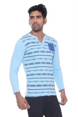 Pezzava Self Design Men's V-neck Reversible Light Blue, Blue T-Shirt