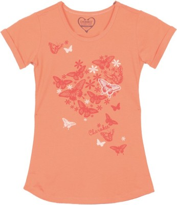 Cherokee Printed Girl's Round Neck Orange T-shirt