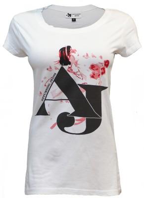 Attuendo Printed Women's Scoop Neck White T-Shirt