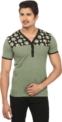 Modish vogue Solid Men's V-neck Green, Black T-Shirt
