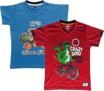Kothari Printed Boy's V-neck Multicolor T-Shirt