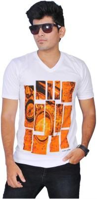 A1 Tees Printed Men's Round Neck White T-Shirt
