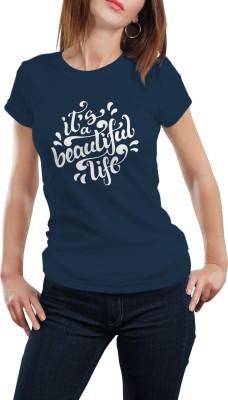 Girlful Printed Women's Round Neck Dark Blue T-Shirt