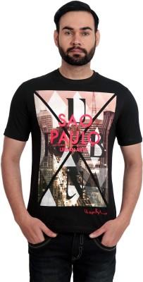 Urban Republic Printed Men's Round Neck Black T-Shirt