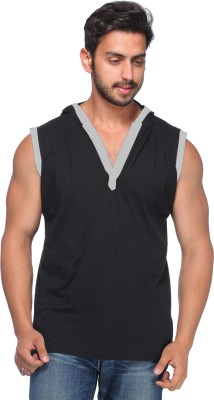 Demokrazy Solid Men's Henley Black T-Shirt