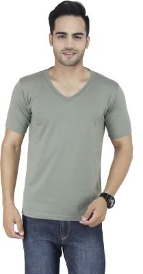 Stylogue Solid Men's V-neck Grey T-Shirt