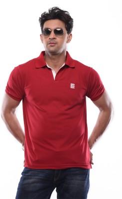 SHAYAN EXPORT Printed Men's Flap Collar Neck Maroon T-Shirt
