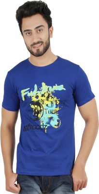 Hoodz Printed Men's Round Neck Blue T-Shirt