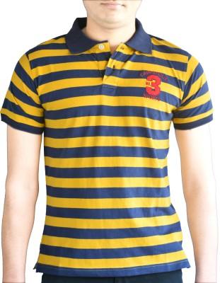 CAPRICIOUS Striped Men's Polo Neck Yellow, Dark Blue T-Shirt
