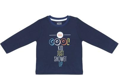 Wowmom Printed Baby Boy's Round Neck Dark Blue T-Shirt
