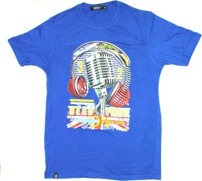 99DailyDeals Printed Men,s Round Neck Blue T-Shirt