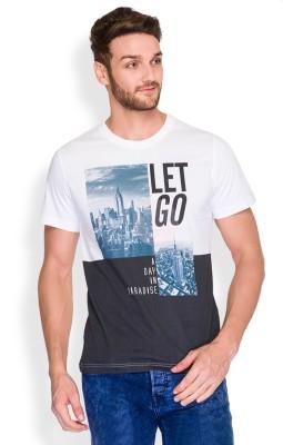 Parx Printed Men's Round Neck White T-Shirt