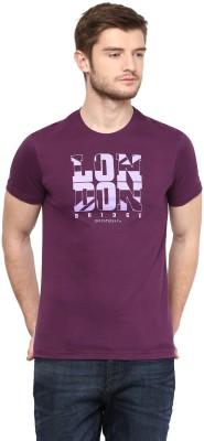 London Bridge Solid Men's Round Neck Purple T-Shirt