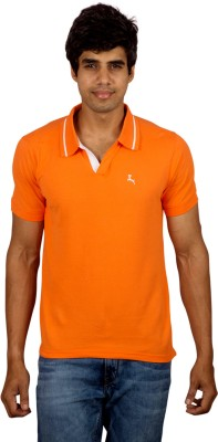 Red Line Solid Men's Polo Orange T-Shirt