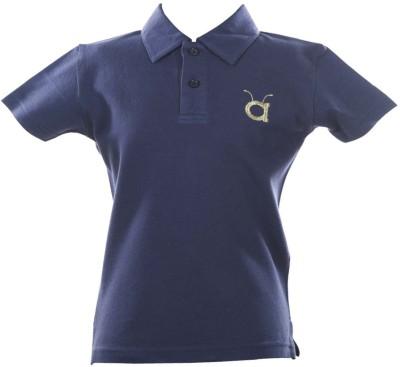 Anthill Solid Boy's Flap Collar Neck Dark Blue T-Shirt