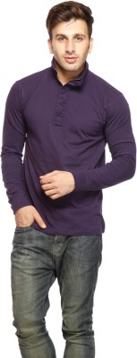 Gritstones Solid Men's Turtle Neck Purple T-Shirt