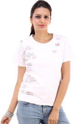 Urban Religion Embellished Women's Round Neck White T-Shirt