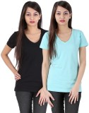Avarnas Solid Women's V-neck Blue, Black...