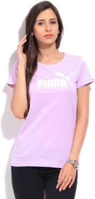 Puma Printed Women's Round Neck Purple T-Shirt
