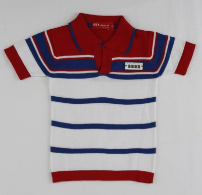 Noddy Striped Boy's Flap Collar Neck T-Shirt