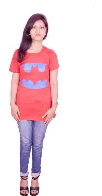 Himgiri Printed Women's Round Neck Red T-Shirt