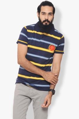 Italian Polo Striped Men's Polo Neck Yellow T-Shirt