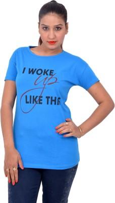 Yellow Kite Solid Women's Round Neck Blue T-Shirt