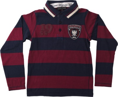 Lulu Striped Boy's Polo Neck Red, Blue T-Shirt
