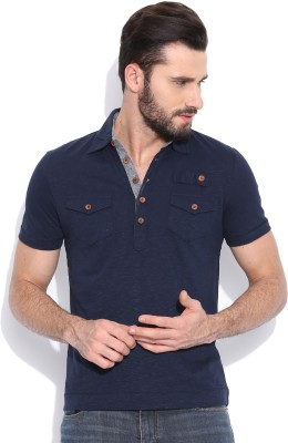 Sera Printed Men,s Polo Neck Dark Blue T-Shirt
