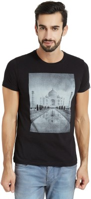 The Indian Solid Men's Round Neck Black T-Shirt